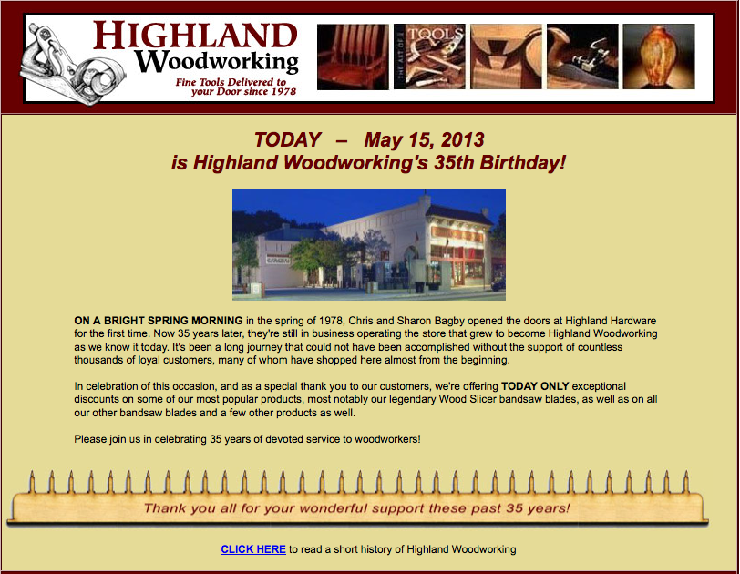 Highland Woodworking 35th