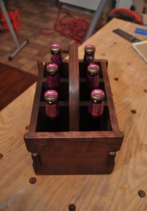 Front view of a Greene & Greene inspired bottle tote