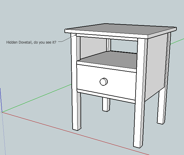 sketchup drawing of bedside table by matt vanderlist