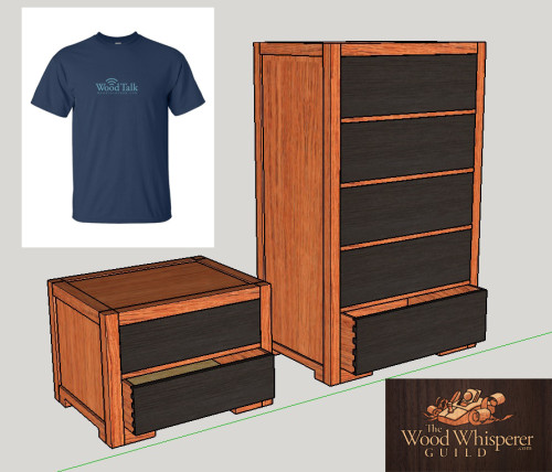 1 lucky winner will receive a Wood Talk T-shirt and 1 winner will receive the Wood Whisperer Guild project: Modern Chest of Drawers & Nightstand