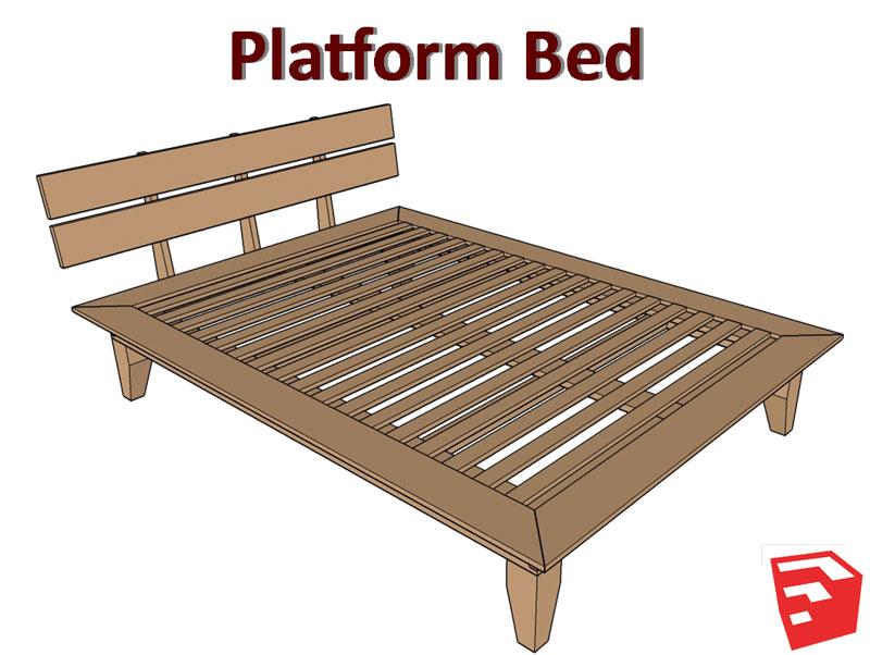 Platform bed plans sketchup file matt 39 s basement workshop for How to build a platform bed frame with headboard
