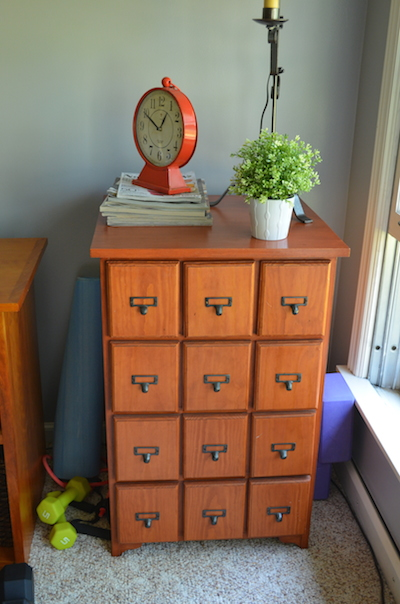 Card catalog inspired CD storage for 500 CDs